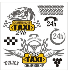 Taxi symbols and elements for taxi emblem - set vector image