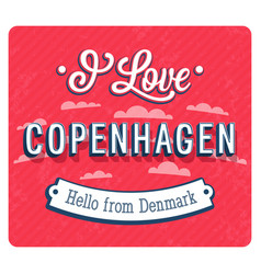 vintage greeting card from copenhagen vector image