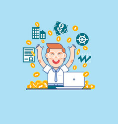 young successful businessmanhappy manager or vector image