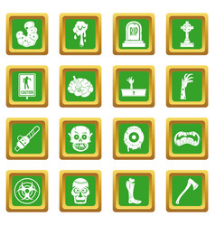 Zombie icons set green vector