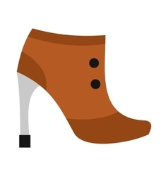 Brown boot with high heel icon flat style vector