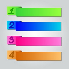Colorful origami style number banner amp card vector
