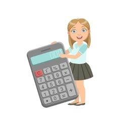 Girl in school uniform with giant calculator vector