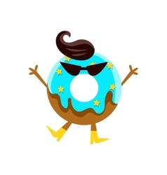 Humanized doughnut with blue glazing dark glasses vector