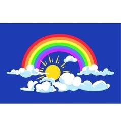 Sun rainbow and clouds deep blue sky vector