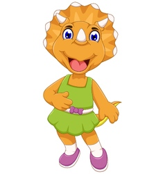funny female dinosaur cartoon posing vector image