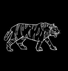 Hand-drawn pencil graphics tiger head engraving vector