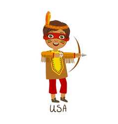 Boy in native american country national clothes vector