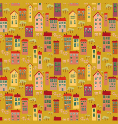 cartoon seamless pattern with landscape vector image