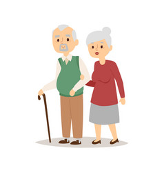 Senior happy couple cartoon relationship vector