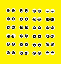 Cute assorted cartoon circle eyeballs emoji icons vector
