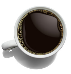 white porcelain cup of coffee with foam on a vector image