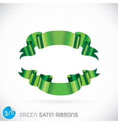 Green satin ribbons vector