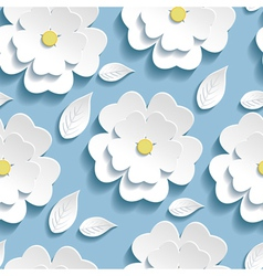 Seamless pattern blue with 3d sakura vector image
