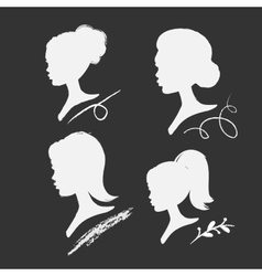 Set of women silhouettes vector