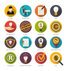 Patent idea protection icons vector