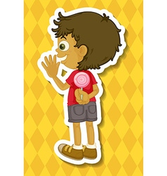 Boy and lollipop vector