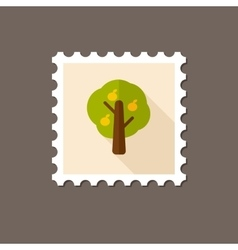 Fruit tree flat stamp with long shadow vector