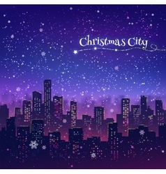 Night christmas cityscape vector