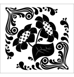 Flower stencil decorative vector