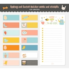 Easter greeting cards tags stickers and labels vector