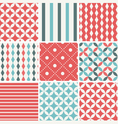 9 abstract vintage geometric seamless patterns vector