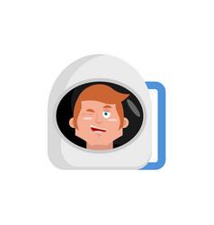 astronaut winks emoji cosmonaut happy emotion vector image vector image