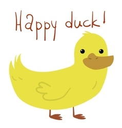 cartoon flat Happy Duck postcard vector image
