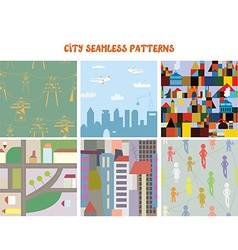 City and town seamless patterns set vector