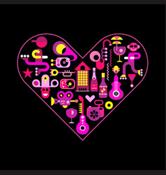 City life heart vector