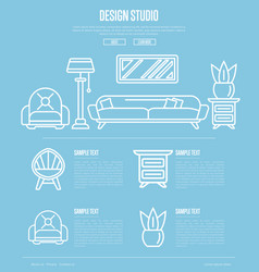 design studio poster in linear style vector image vector image