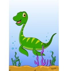 dinosaur cartoon on the water vector image vector image