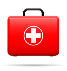 first aid kit red case with medical emblem box vector image vector image