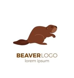 Flat beaver logo vector image