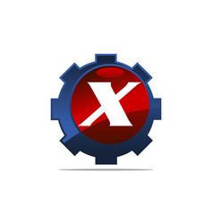 Gear logo letter x vector