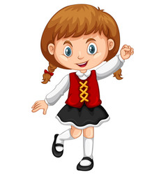 Girl from switzerland on white background vector