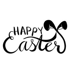 happy easter words with bunny ears vector image