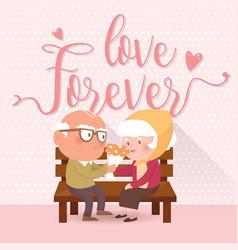 Happy old couple vector