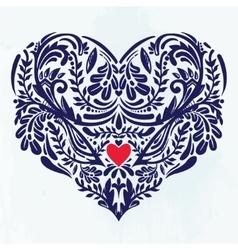 Heart - rustic decorative ornate lace design vector
