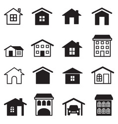 Home condominium tower apartment icons set vector