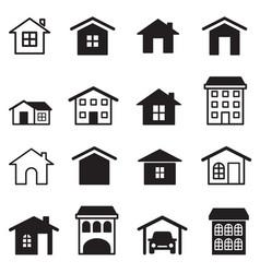 home condominium tower apartment icons set vector image vector image