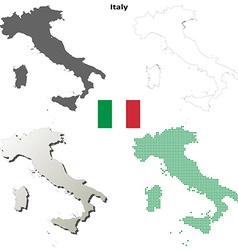 Italy outline map set vector