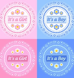 Its a girl and boy ornaments vector image