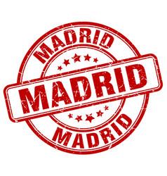 Madrid red grunge round vintage rubber stamp vector