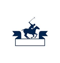 Polo player riding horse ribbon retro vector