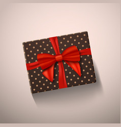 Realistic gift box with red ribbon greeting card vector