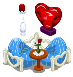 Ruby hearts furniture table and precious roses vector