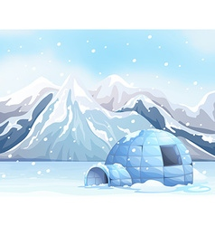 Scene with igloo on snow ground vector