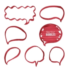 Set of hand drawn red marker bubbles vector image