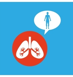 Silhouette man with lungs organ body icon vector